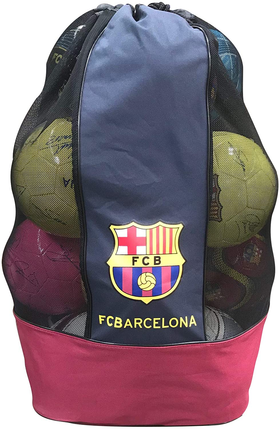 FC Barcelona Official Drawstring Sports Equipment Ball Bag Nylon Mesh Material Shoulder Strap Practice Ball Bag 17x17x31