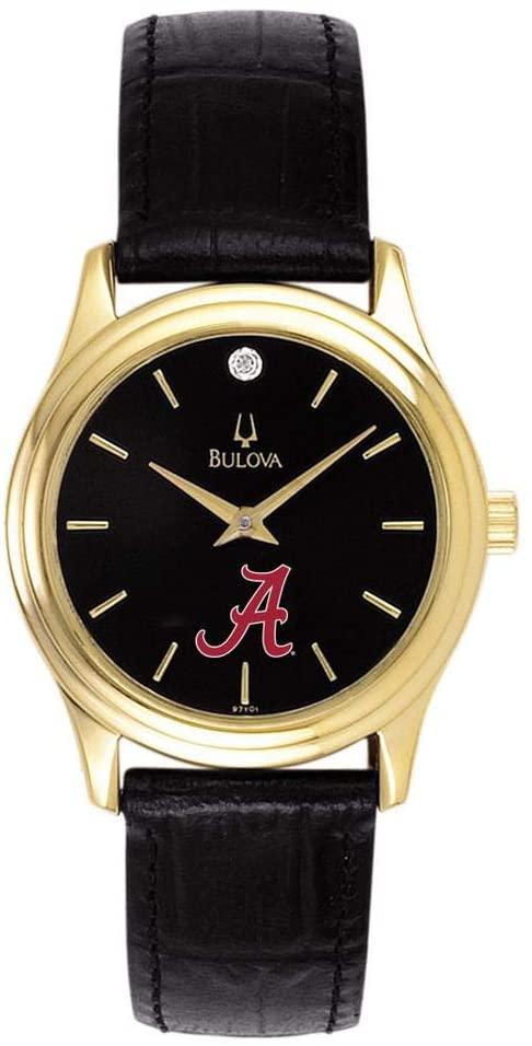 Bulova Women's Alabama Crimson Tide Bama Watch Black Leather Diamond