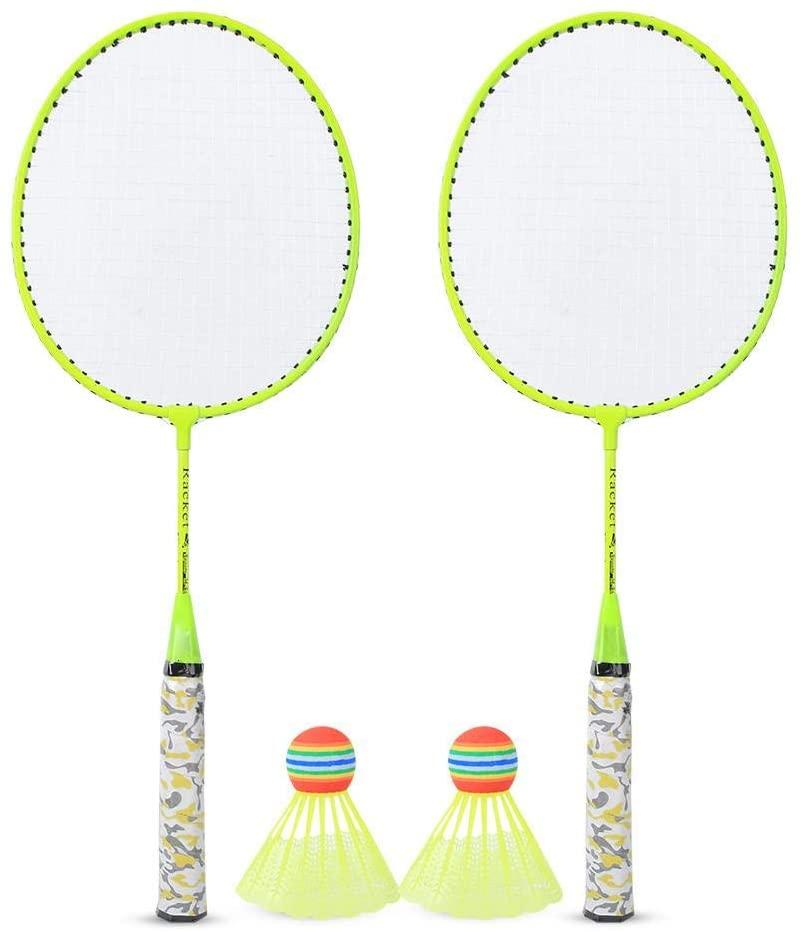 Badminton Rackets,1Pair Iron Alloy Practical Sturdy&Durable Soft Premium Quality Badminton Racket Perfect For Children Leisure And Entertainment (3 Fluorescent Colors)(1#)