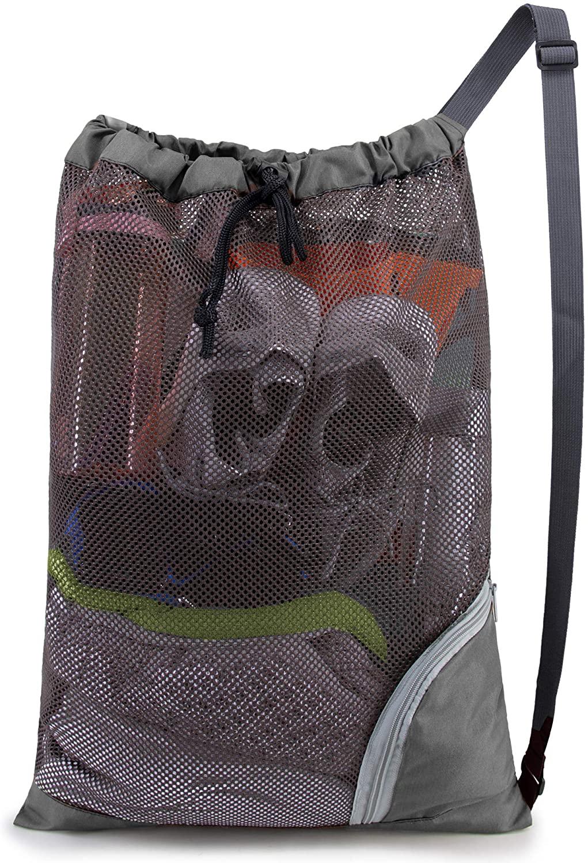 Grey Mesh Drawstring Backpack Multifunction Durable Mesh Bag for Travel