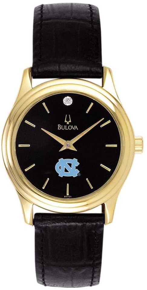 Bulova Women's North Carolina Tarheels UNC Watch Black Leather Diamond