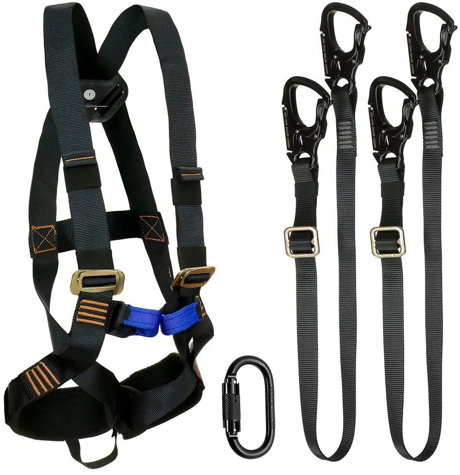 Fusion Climb Tactical Edition Kids Commercial Zip Line Kit Harness/Dual Lanyard/Carabiner Bundle FTK-K-HLLC-02
