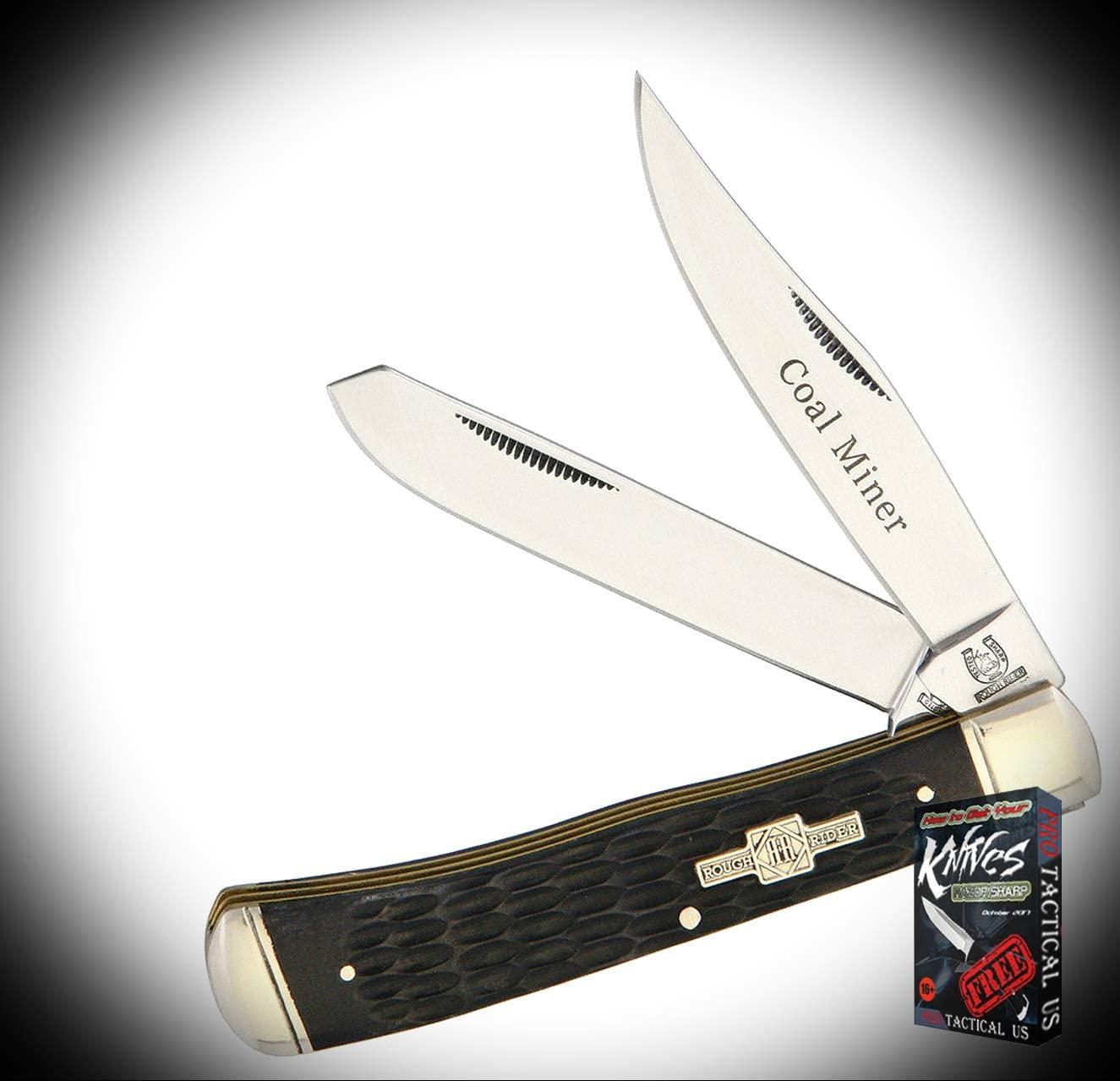 New Rough Rider Coal Miner Trapper Black Jigged Bone Folding ProTactical Elite Knife 1128RT + Free eBook