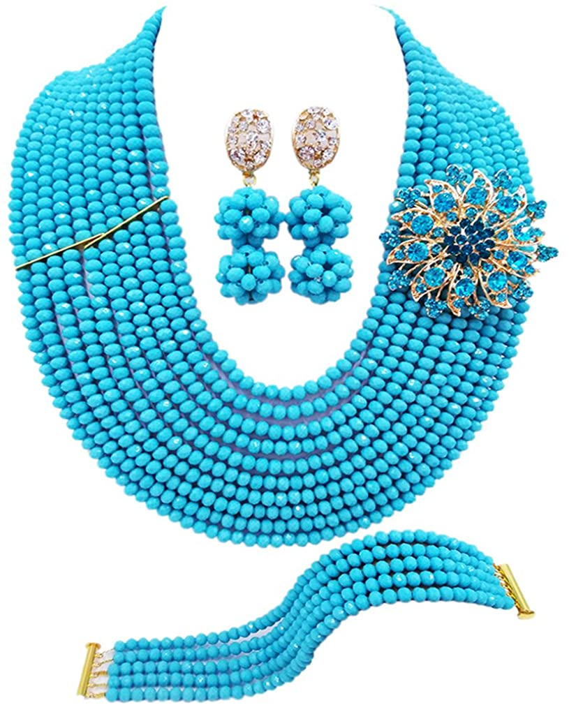 laanc 10 Rows Fashion Costume African Beads Jewelry Set Nigerian Wedding Bridal Jewelry Sets for Women