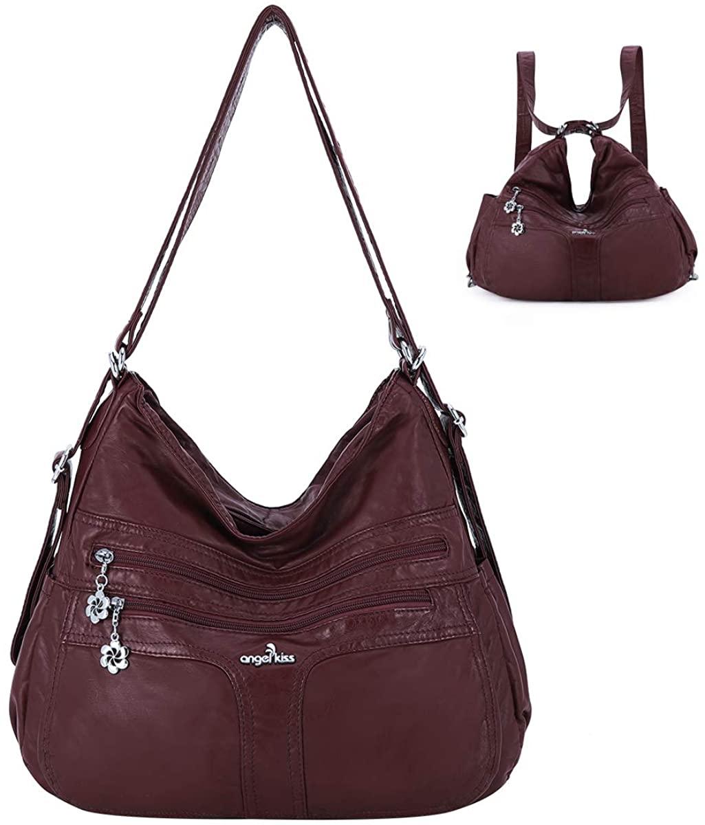 angel kiss Satchel Handbag for Women, Ultra Soft Washed Vegan Leather Crossbody Bag, Shoulder Bag, Tote Purse