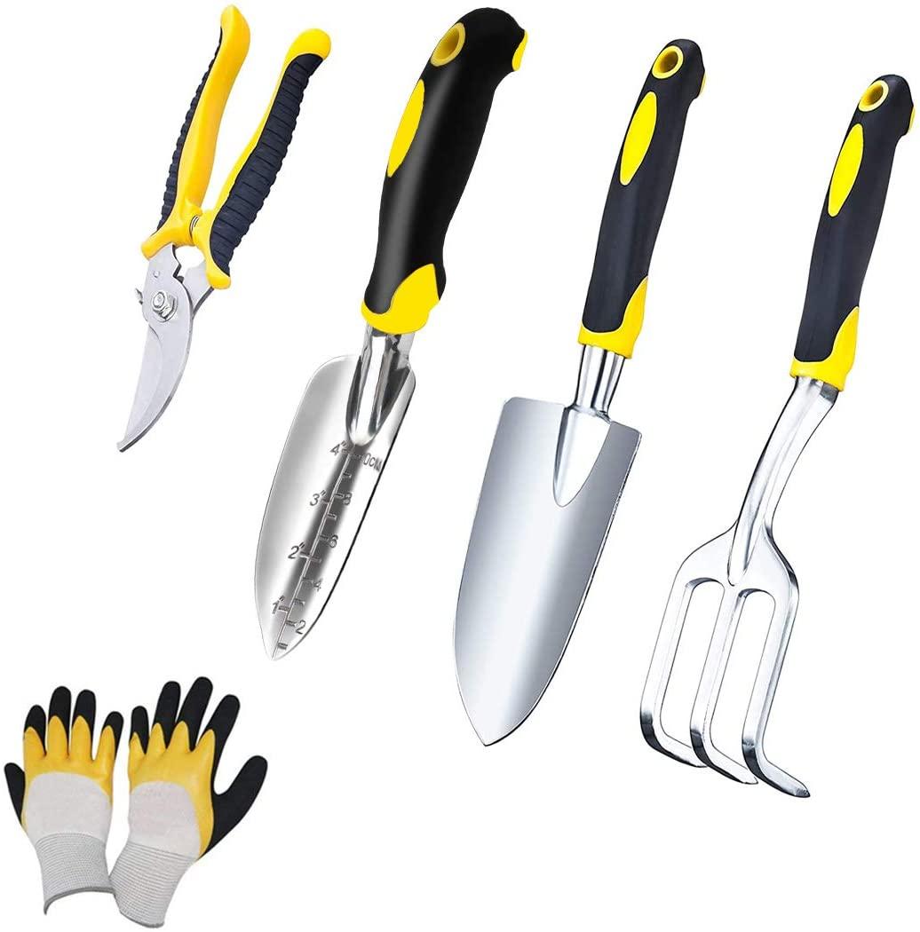 YANR Garden Tool Set 5 PCS Heavy Duty Aluminum Gardening Hand Tools Set Kits for Women Including Transplanting Spade Trowel Cultivator Pruner Gardening Gloves