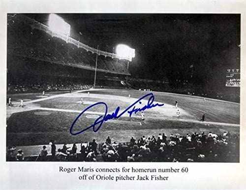 Jack Fisher autographed 8x10 photo pictured Roger Maris hitting 60th Home Run Orioles versus N Y Yankees 1961 Season - Autographed MLB Photos
