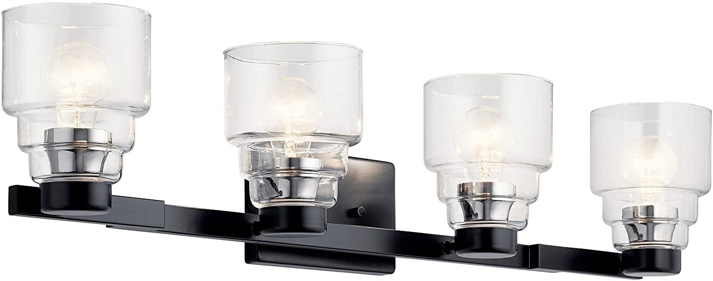 Kichler 55013BK Vionnet Vanity, 4-Light 300 Total Watts, Black