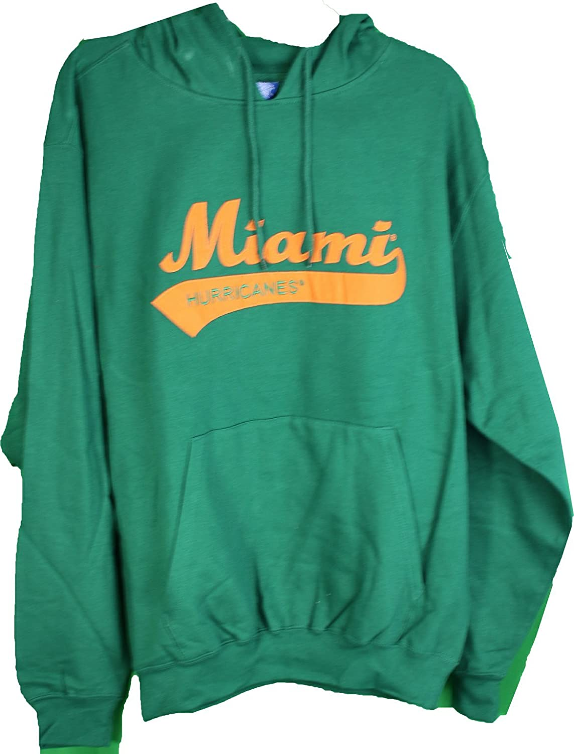 NCAA Victory Sports by EMI Miami Hurricanes Tackle Twill Hoodie with Front Pocket Large