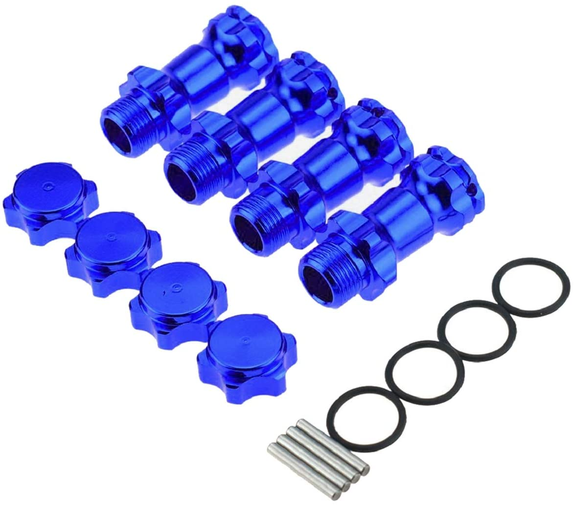 ZYCST 4PCS 17mm Aluminum Wheel Hex Hub 30mm Extension Adapter Capped Longer Combiner Coupler with Anti-Dust Cover for 1:8 RC Model Car Truck,Blue