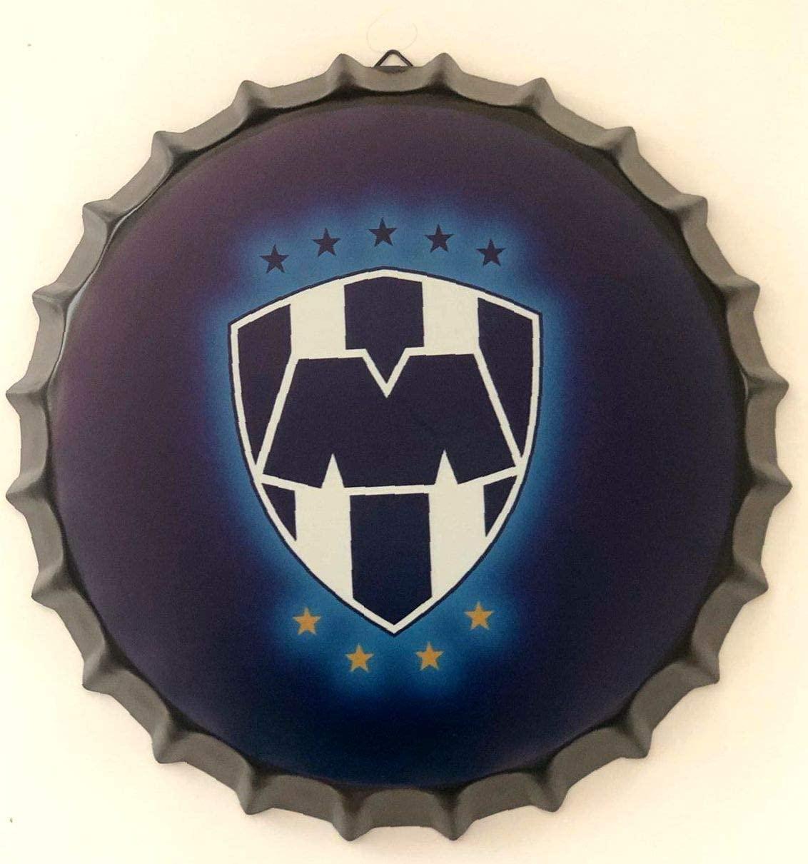 CustomVinylDecals Monterrey Rayados Futbol Mexico Decorative Bottle Cap Metal Tin Sign 13.8