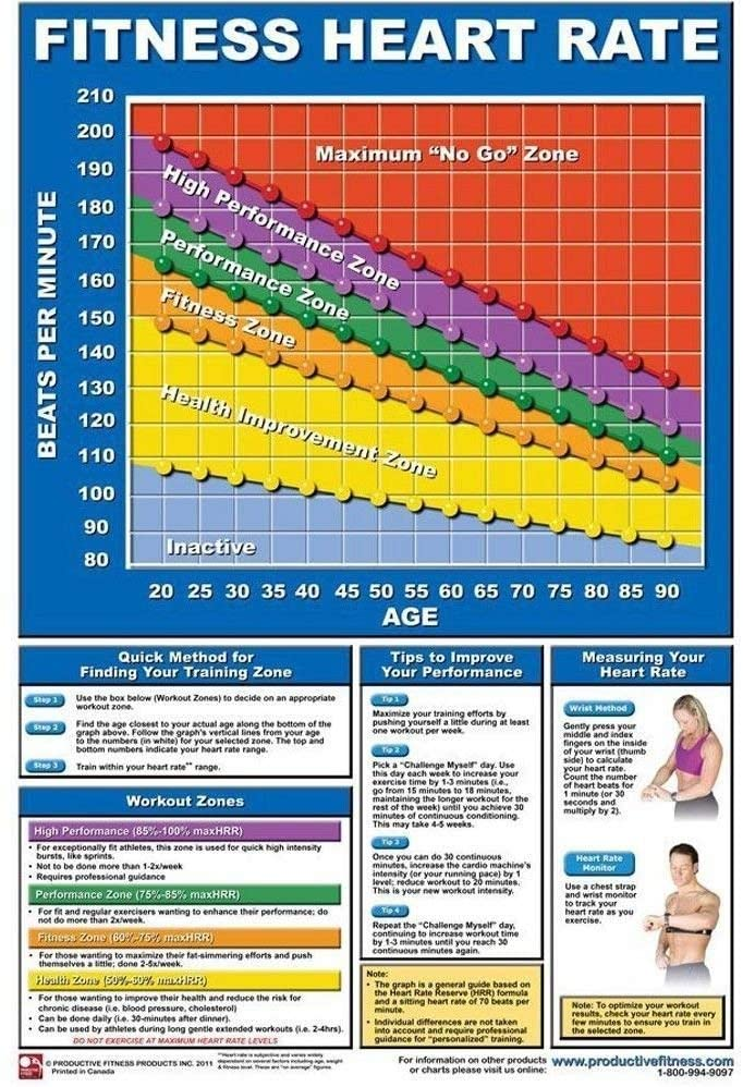 Productive Fitness Poster Series - Training Heart Rate Chart for at Home Use