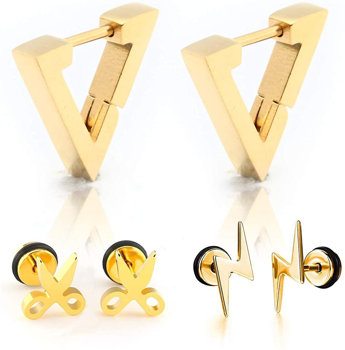 3 Pairs Punk Style Stainless Steel Triangle Lightning Scissors Shape Kpop Style Earrings Set for Men Women