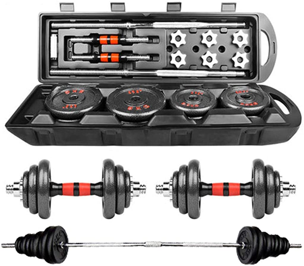 Gmgod❤️❤Adjustable Weight Dumbbell Set, Free Weight Set with Connecting Rod 50KG/110L,Fitness Sporting Goods Black
