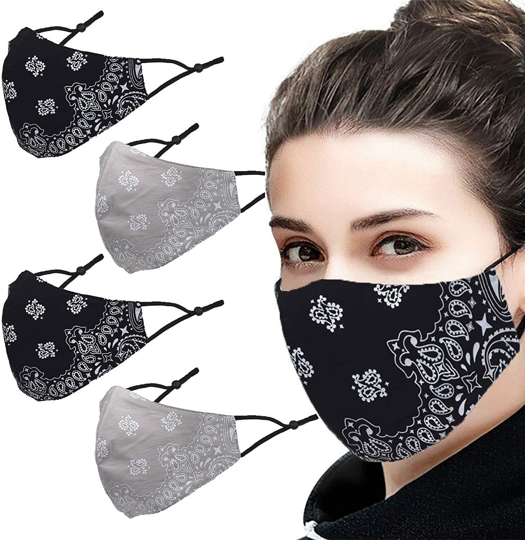 FENELY 4Pcs ManWoman ClothFaceMask Fashion Paisley AdjustableReusable Washable