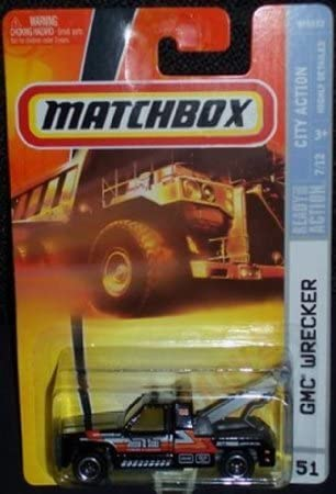 Dubblebla Matchbox 2008 -51 City Action Series 7 of 12 GMC Wrecker Tow Truck Black 1:64 Scale Collectible Die Cast Car