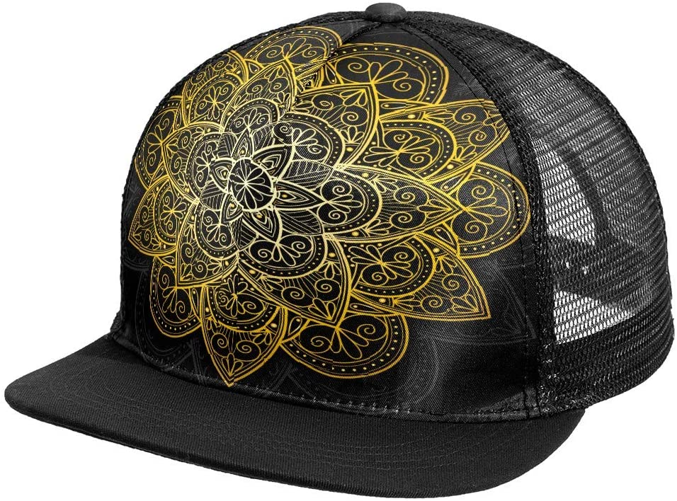 N\O Snapback Cap Hats Trucker Plain for Men Golden Luxury Mandala Flower Custom Hip Hop Baseball Caps Bulk Athletic Fitted Hat Snapback Flat Bill Brim 59Fifty Cap Blank Mesh Back Ponytail Unisex