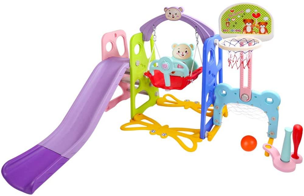Nzevz 6 in 1 Slide and Swing Set for Toddlers, Slide Swing Playset w/Basketball Hoop, Football Goal, Baseball Set and Music Machine, Easy Setup Backyard Kids Activity (Multicolor)