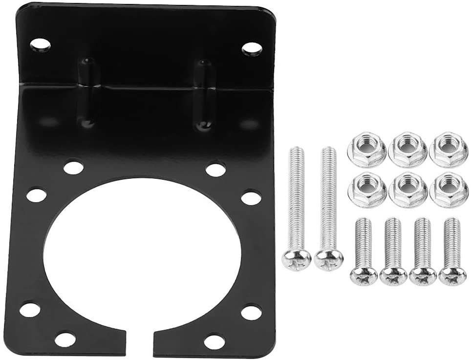 Acouto Metal Mounting Bracket Holder for 7 Pin Caravan Towing Trailer Connector Plug Socket Trailer Socket Bracket