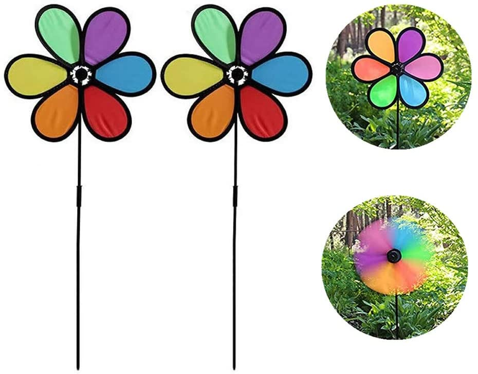WSERE 5 Pieces Wind Spinners Pinwheels for Yard Garden Patio Lawn Decor, 10 in x 21 in Outdoor Colorful Large Pinwheels