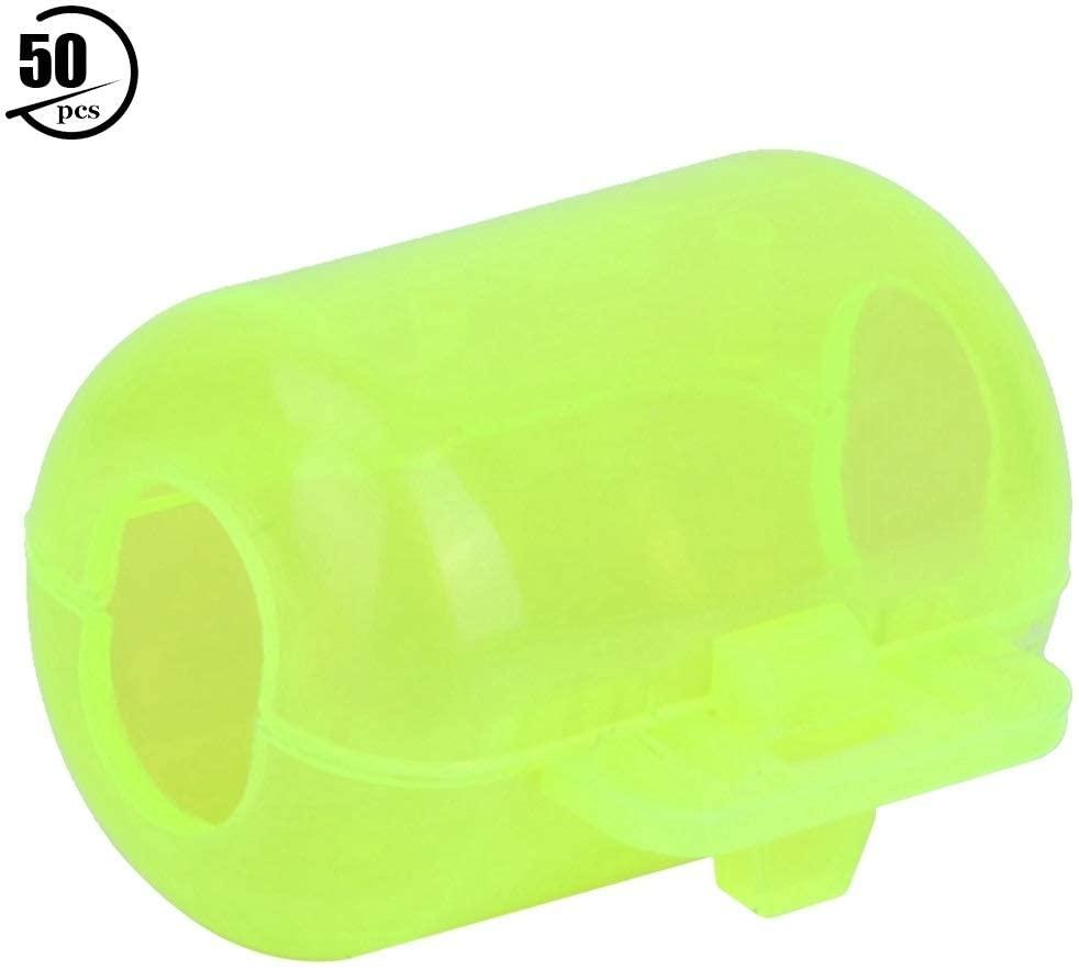 KSTE 50Pcs Fluorescent Yellow Plastic Squid Lure Hook Box Cover Case Fishing Accessory(S)