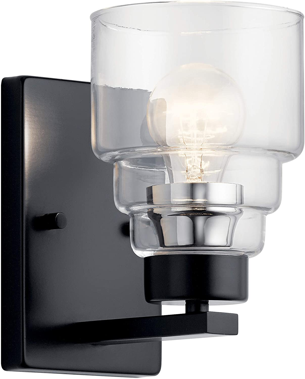 Kichler 55010BK Vionnet Wall Sconce, 1-Light 75 Watts, Black