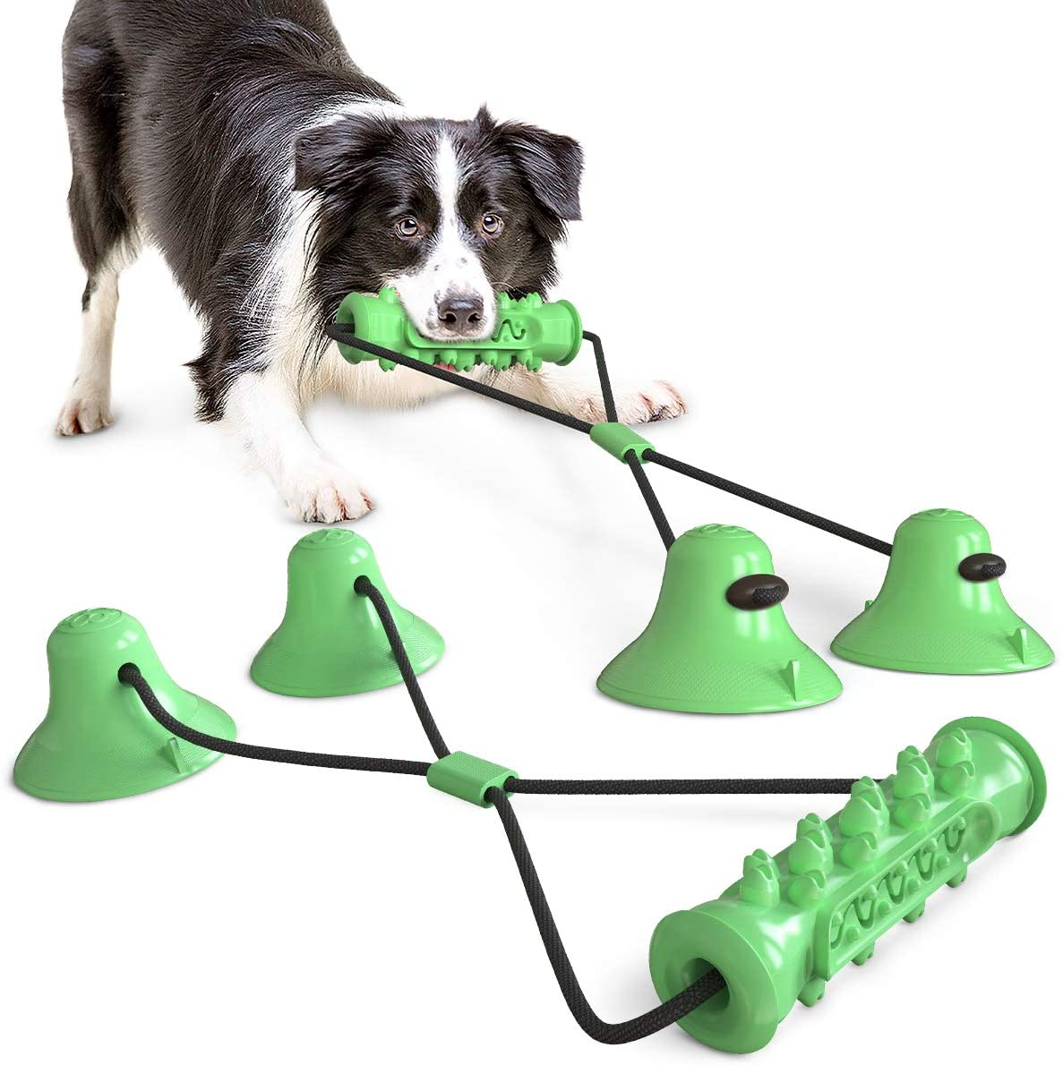 USWT Dog Tug-of-War Toy with Two Suction Cups,Rope Ball Pull Toy, Teeth Cleaning Dog Chew Training Toy