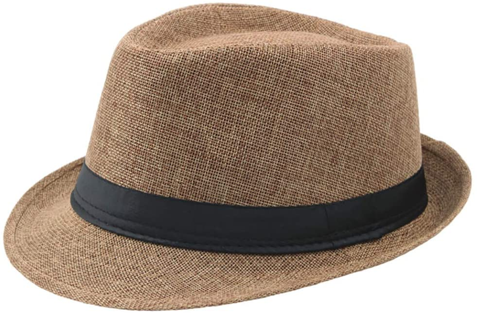 Jazz Hat Men's Breathable Linen Top Hat Outdoor Sun Hat Curly Brim Straw Hat, Hat, Clothing Shoes & Accessories (Brown)