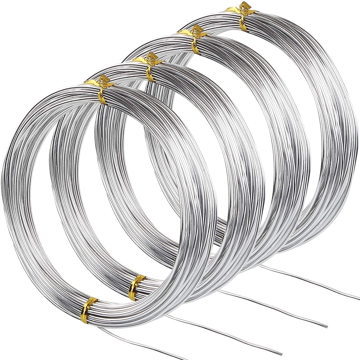 AConnet 32.8Ft Silver Aluminum Wire 16 Gauge Thickness Bendable Metal Craft Wire for Making Beading Jewelry Craft Dolls Skeleton DIY Crafts (4 Rolls, Total 131.2Ft)