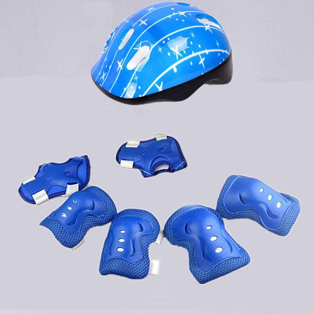 7pcs Kids Outdoor Sports Protection Gear Set, include helmet elbow pads knee pads wrist guards, Safety Pads Set for Roller Scooter Skateboard Bicycle(4-16 years old)