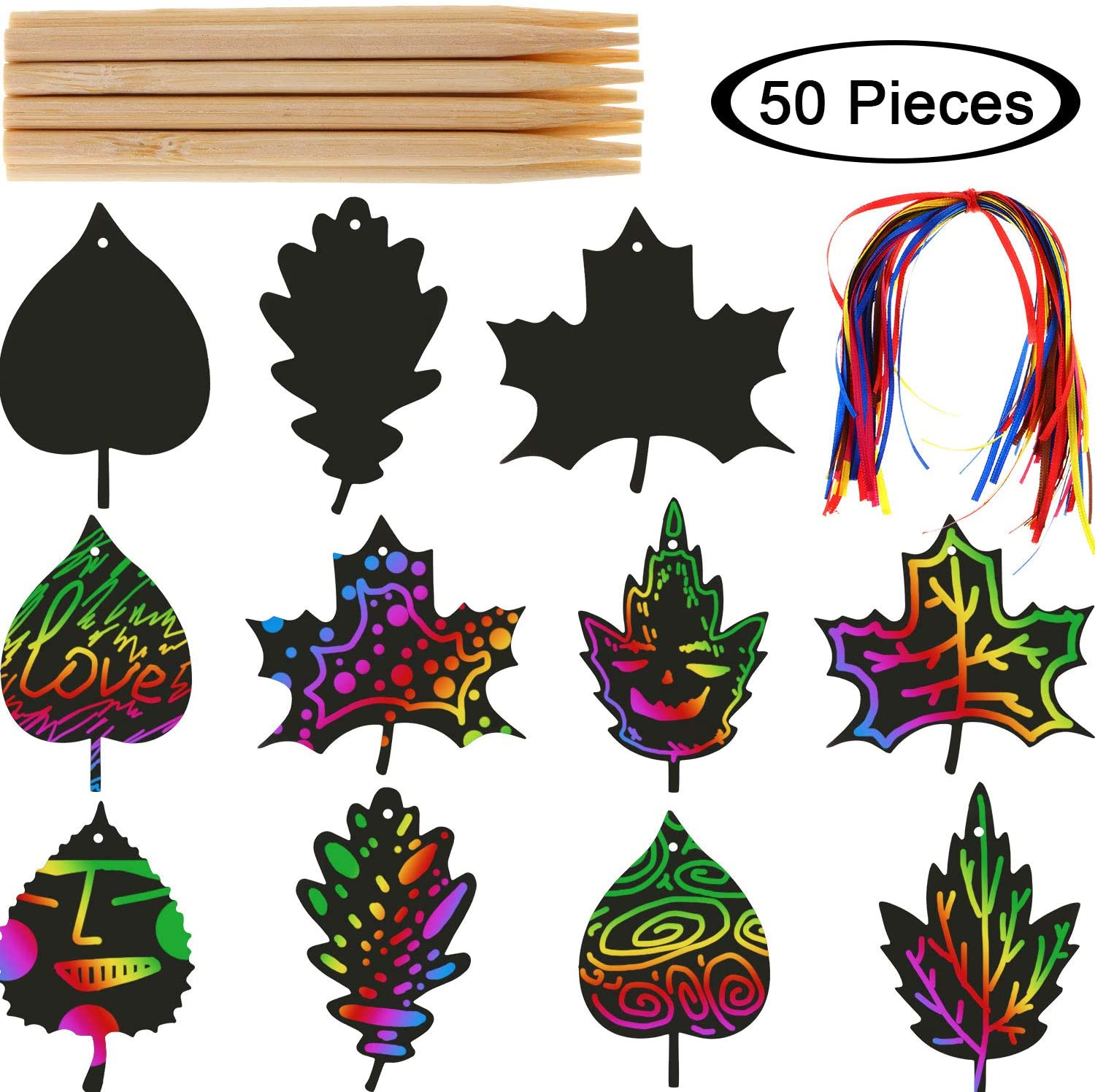 BBTO 50 Pieces Scratch Fall Leaves Colorful Scratch Leaves Scratch Rainbow Art Paper with Ribbons and Wooden Stylus for Thanksgiving Harvest Party