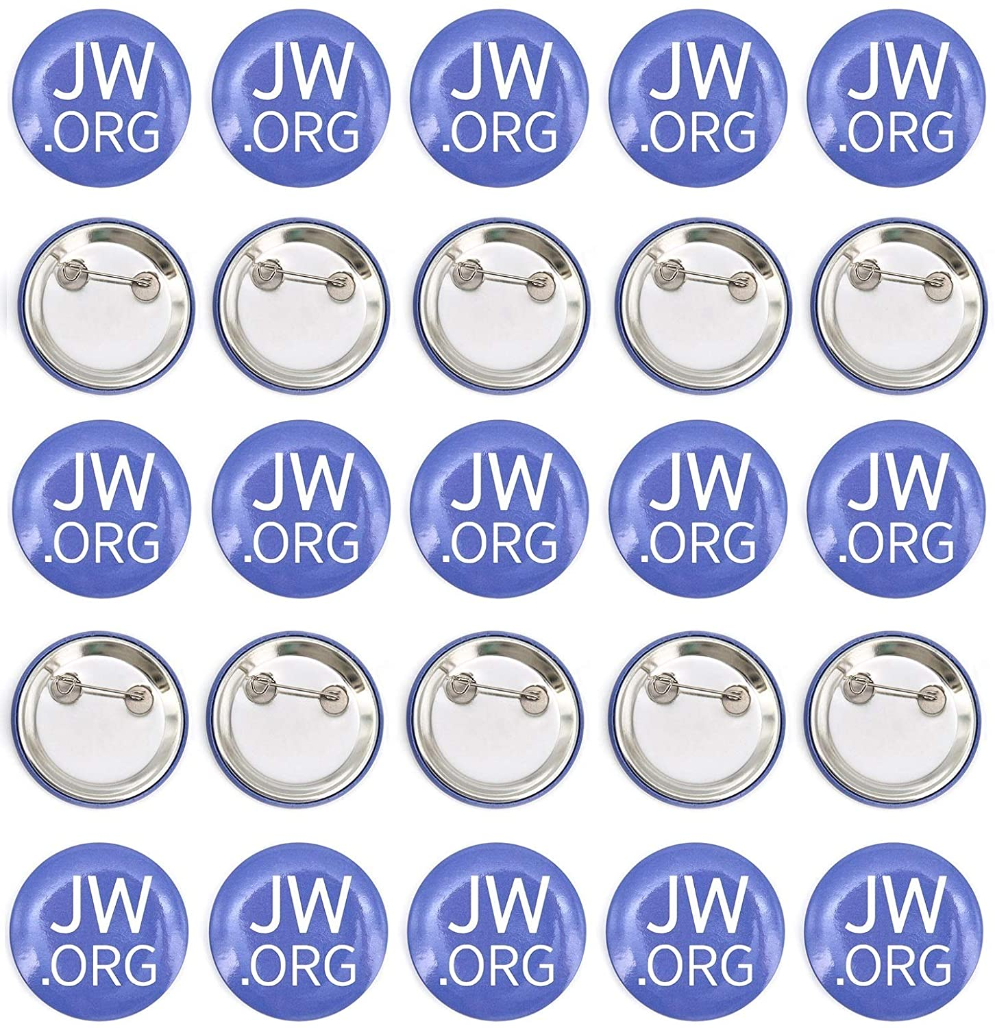 Round Buttons for Jehovah's Witnesses Jw.org 1.5 Pin Back Buttons with safty pin Back - Pack of 25