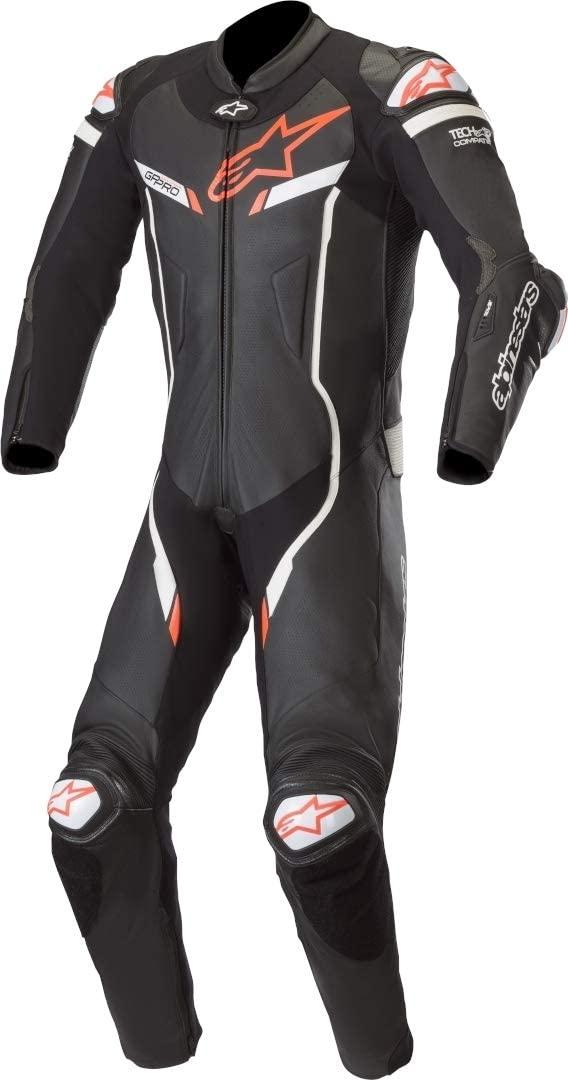 Alpinestars Men's GP PRO V2 1 Piece Leather Motorcycle Riding Suit (Tech Air Compatible), Black/White, 58