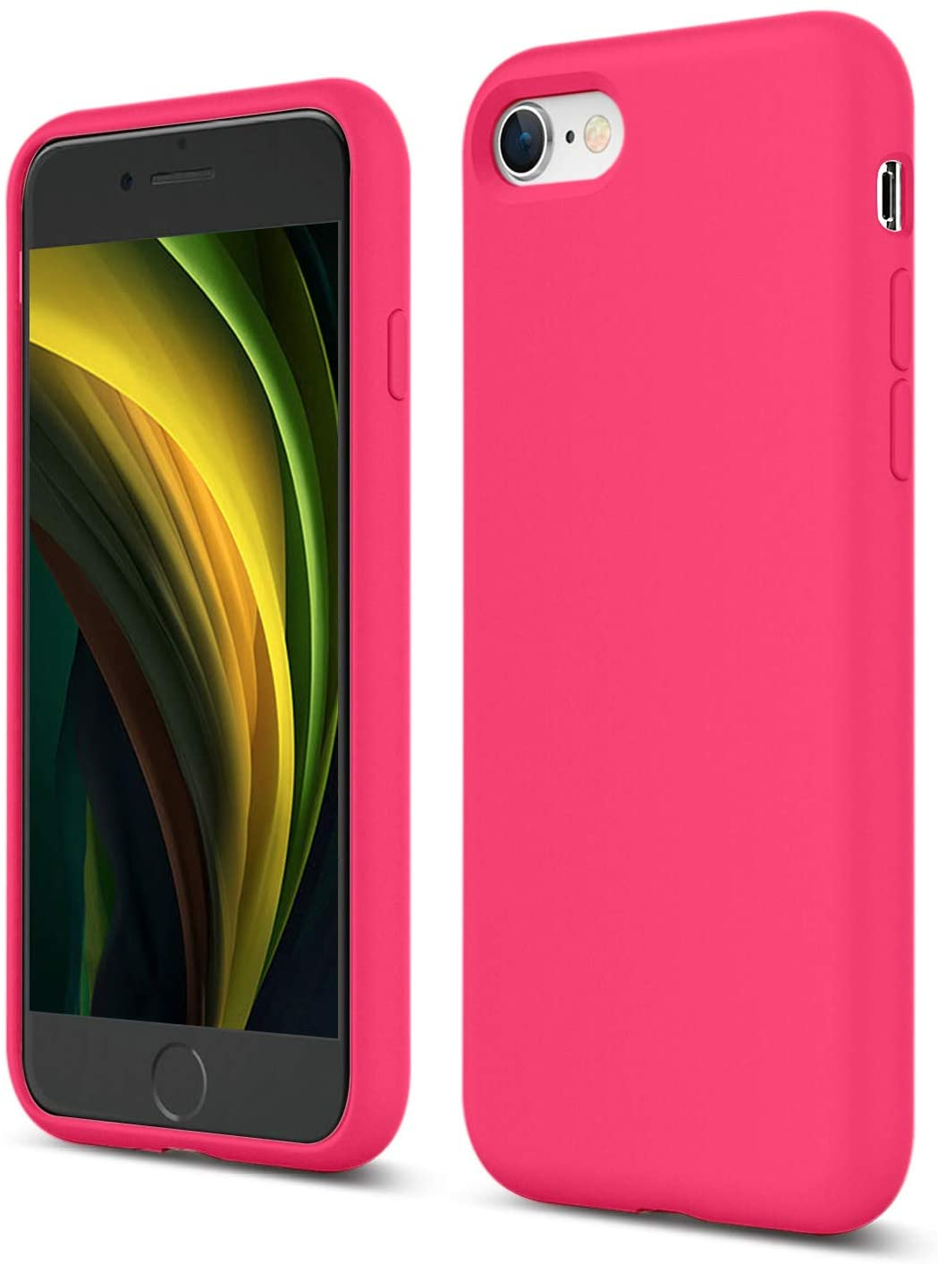 ZUSLAB Cover for Apple iPhone 7/8/SE 2020 Case Silicone Gel Rubber Bumper,Slim Thin Hard Shell Shockproof Full-Body Protective Case - Hot Pink