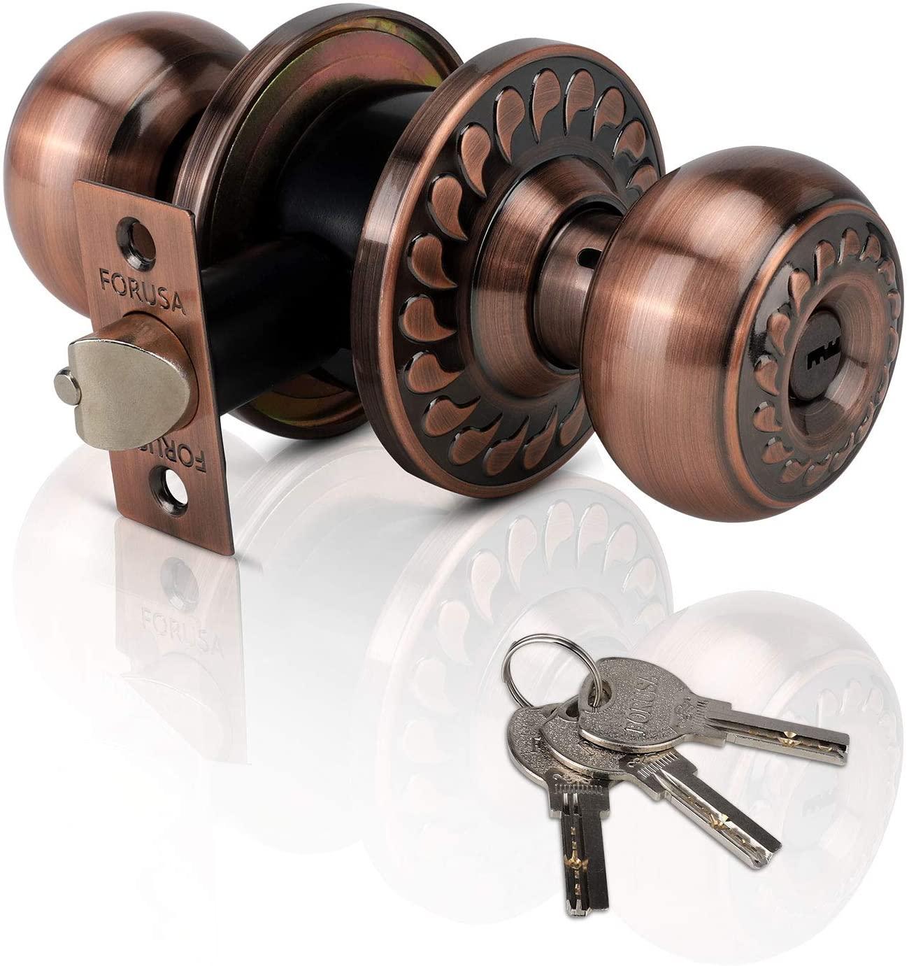 XIUDI Ball Privacy Door Knobs with Lock and 3 Keys Bronze,Bedroom Doorknob with Lock Keyed, Interior/Entry Stainless Steel Door Handle Lockset,Exterior Privacy Bathroom and Bedroom (Raindrops Bronze)