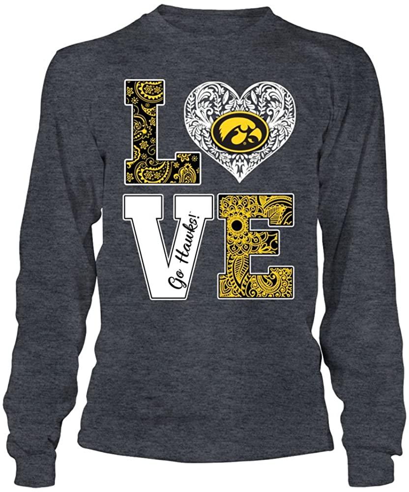 FanPrint Iowa Hawkeyes T-Shirt - Stacked Love - Pattern Heart Logo