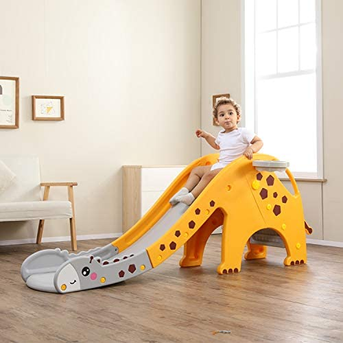 WHITSUNDAY Kids Slide (Giraffe Slide, Yellow+Grey)