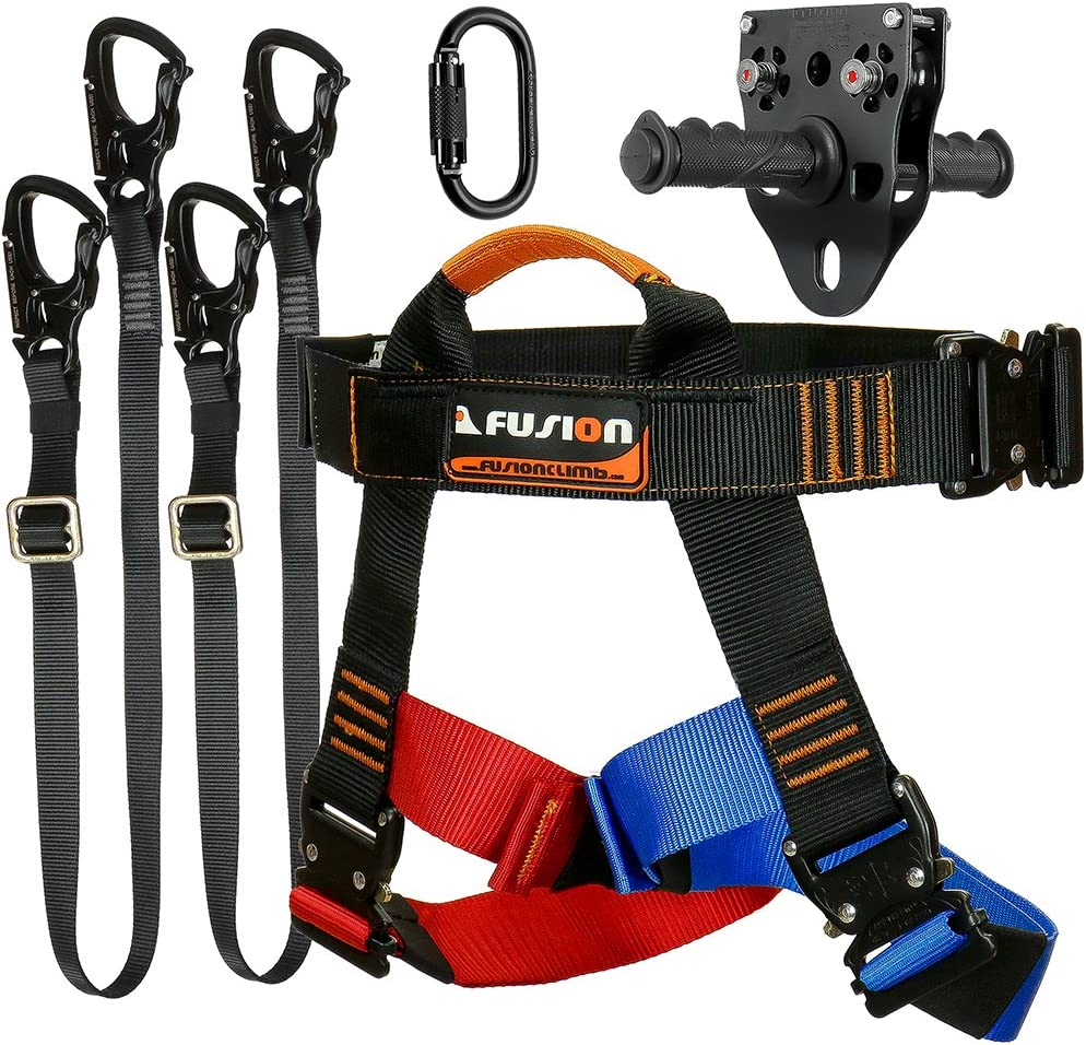 Fusion Climb Tactical Edition Adults Commercial Zip Line Kit Harness/Dual Lanyard/Carabiner/Trolley Bundle FTK-A-HLLCT-17