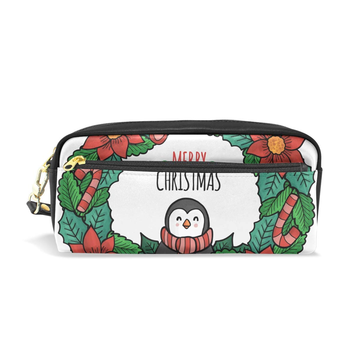 Christmas Penguin Flower Leather Pen Pencil Case Bag Students Zipper Stationery Pouch School Supplies Travel Cosmetic Makeup Bag