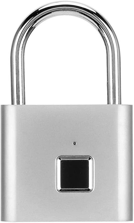 Simlug Portable Multi‑Functional Anti-Theft Zinc Alloy Security Padlock Thumbprint Lock Fingerprint Padlock for Door Offices Homes Backpacks