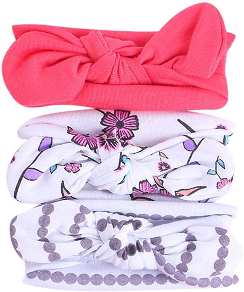 Baby Girl Headbands Bow, Floral Nylon Elastic Bowknot Newborn 3Pcs Cute Headband Infant Toddler Hair Accessories for Kids