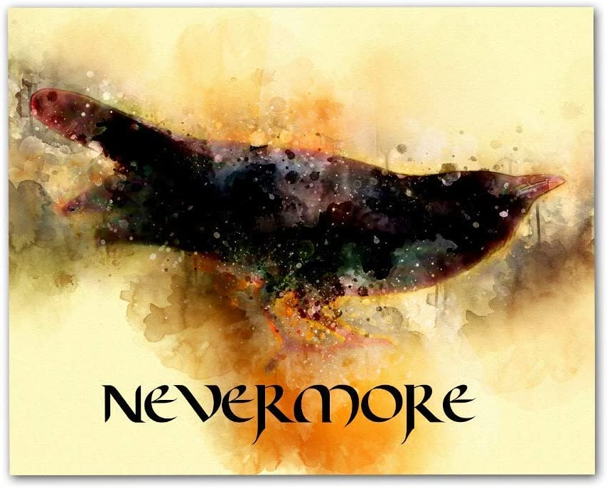 Raven Nevermore Wall Art 10x8 UnFramed Print, Based on Edgar Allen Poe Poem, Ideal for English Teachers, Librarians and Lovers of Literature and Poetry
