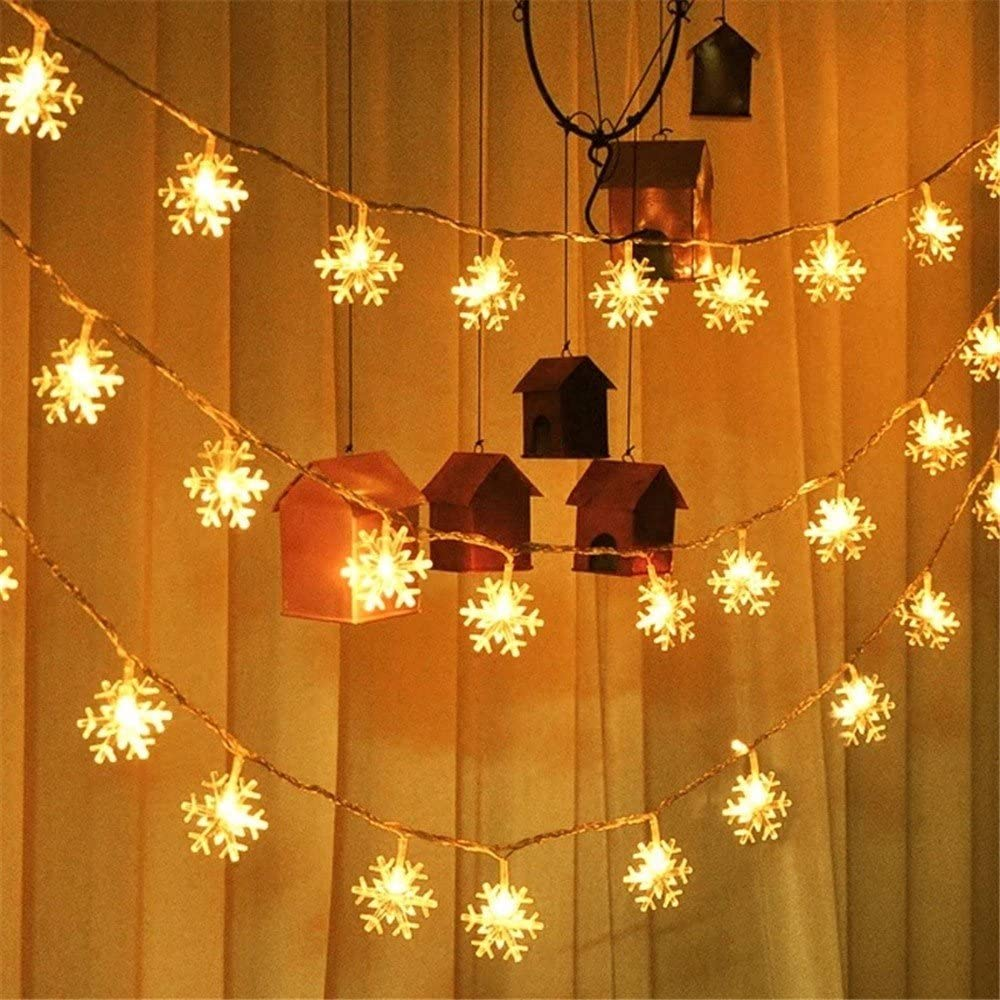 RITAA 1.5m 10 Lights Christmas Snowflake Light String Tree Decorations Christmas Party Holiday Decoration Illuminate Christmas Home Decor for Hotel Shopping Mall Courtyard (Yellow)