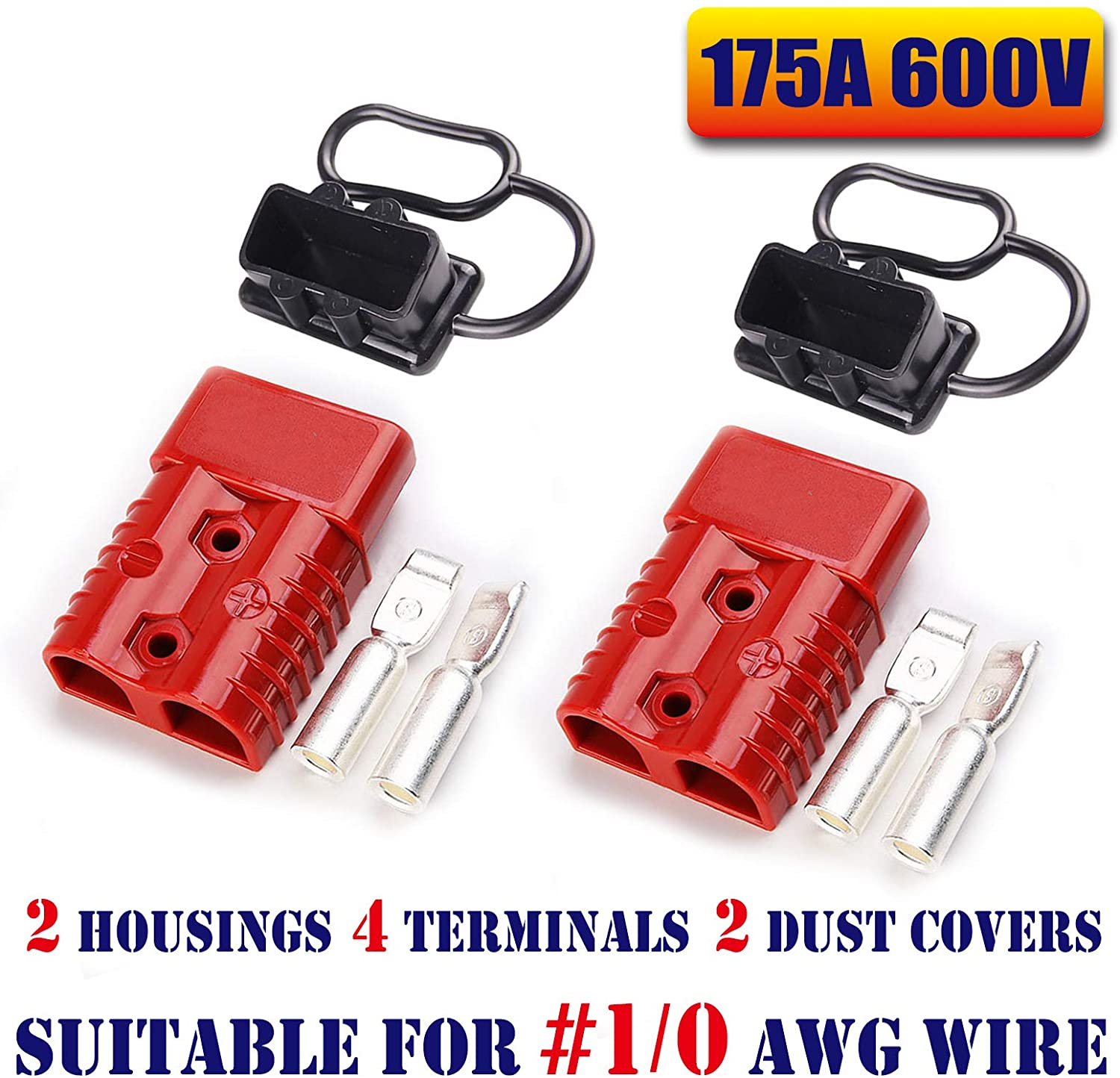Mr.Brighton LED 175Amp Anderson Compatible 2 Pole Power Connector Plug Red w/Terminals for #1/0 AWG Wire[2 housing+4 Terminal pins+2 dust Covers]