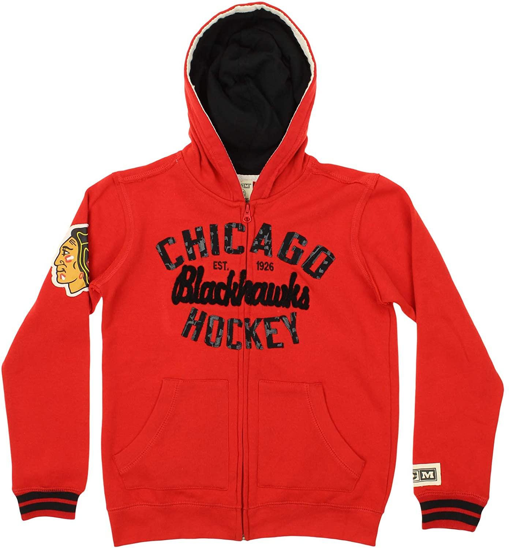CCM Chicago Blackhawks NHL Big Boys Youth Full Zip Vintage Fleece Hoodie, Red