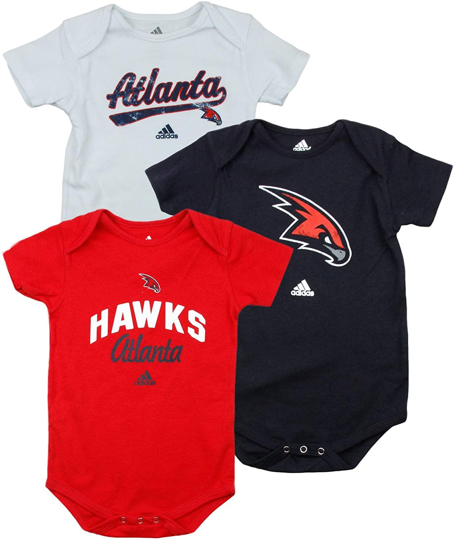 adidas Atlanta Hawks NBA Infants Bodysuit 3 Pack Set