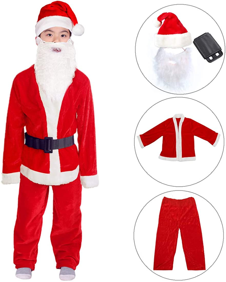 Boys Santa Costume Santa Claus Costume for Boys Child Santa Suit Christmas Costume Party Suit for Boys 6-9 Years