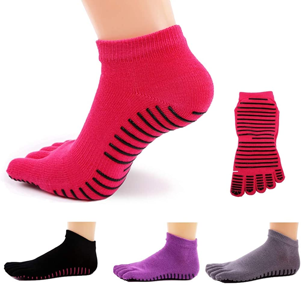 Anti-smell Keep-clean Yoga Socks Non Slip Skid Pilates Barre Grip Socks With Toes For Women