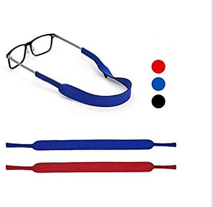 Eyeglasses Holder Strap by SQV - Premium Soft Neoprene Adjustable Sport Eyeglasses Holder for Men & Women - Glasses Cord Lanyard - Eyeglass Retainer (2, Blue/Red)
