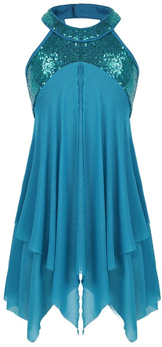 Alvivi Girls Lyrical Dance Dress Modern Contemporary Costumes Sequins Halterneck Leotard with Irregular Skirt